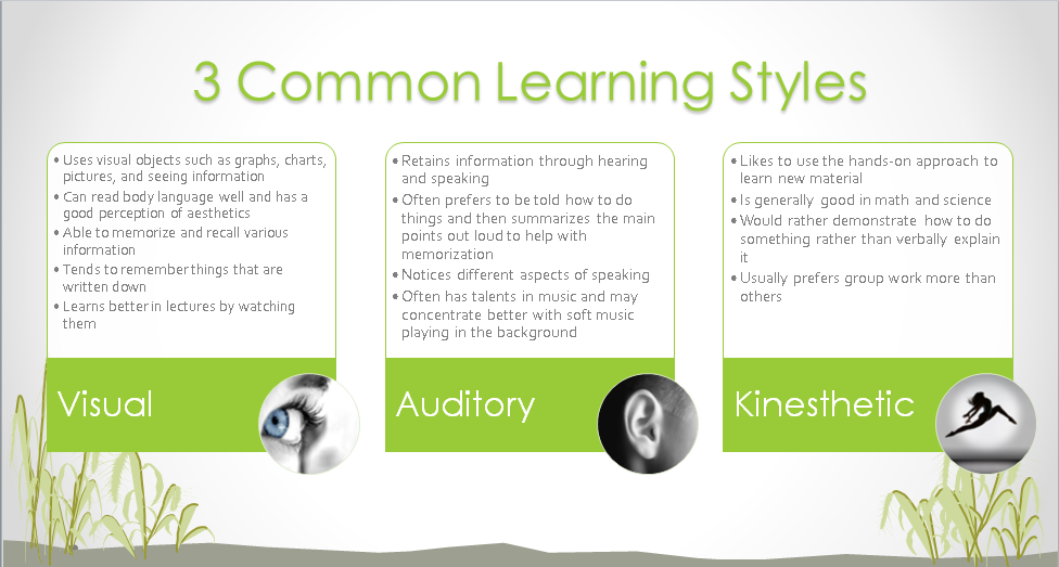 a look at the three styles of learning Understand your team members' preferred method of learning with the vak learning styles look at the vak learning styles model three learning styles.
